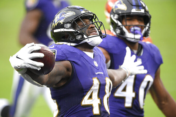 Baltimore Ravens inside linebacker Patrick Queen (48) reacts after scoring on a 53-yard fumble recovery on a ball dropped by Cincinnati Bengals wide receiver Mike Thomas, not visible, during the second half of an NFL football game, Sunday, Oct. 11, 2020, in Baltimore. The Ravens won 27-3. (AP Photo/Nick Wass)