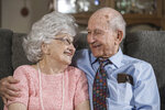 In this Aug. 26, 2021, photo Thomas and Dee House sit together at their home in Las Cruces, N.M. A chance meeting on July 18, 1946 and three weeks together — that was the beginning of Thomas and Dee House's 75-year marriage. (Nathan J Fish/The Las Cruces Sun News via AP)