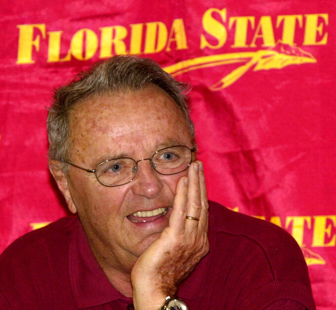 FILE - In this Dec. 16, 2002, file photo, Florida State coach Bobby Bowden comments to the media during Sugar Bowl Media Day in Tallahassee, Fla. The legendary college football coach announced Wednesday, July 21, 2021, that he has been diagnosed with a terminal medical condition. (AP Photo/Mark T. Foley, File)