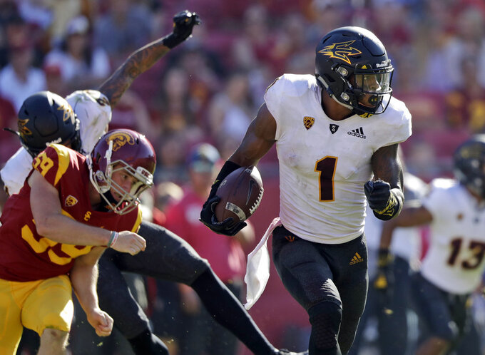 Arizona State wide receiver N'Keal Harry (1) returns a punt for a touchdown against Southern California during the second half of an NCAA college football game Saturday, Oct. 27, 2018, in Los Angeles. (AP Photo/Marcio Jose Sanchez)