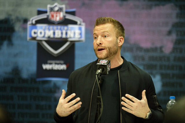 FLE - In this Feb. 25, 2020, file photo, Los Angeles Rams head coach Sean McVay speaks during a press conference at the NFL football scouting combine in Indianapolis. The 2020 NFL Draft is April 23-25. (AP Photo/Michael Conroy, File)