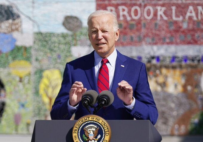 President Joe Biden speaks at Brookland Middle School, Friday, Sept. 10, 2021 in Washington. Biden has encouraged every school district to promote vaccines, including with on-site clinics, to protect students as they return to school amid a resurgence of the coronavirus. (AP Photo/Manuel Balce Ceneta)