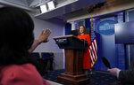 White House press secretary Jen Psaki speaks with reporters in the James Brady Press Briefing Room at the White House, Thursday, Jan. 21, 2021, in Washington. (AP Photo/Alex Brandon)