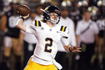 East Tennessee State quarterback Tyler Riddell passes against Vanderbilt in the second half of an NCAA college football game Saturday, Sept. 4, 2021, in Nashville, Tenn. (AP Photo/Mark Humphrey)