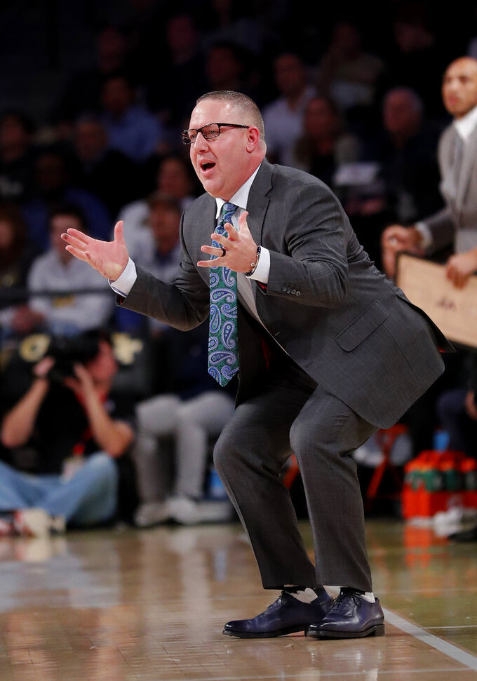 Virginia Tech head coach Buzz Williams reacts in the second half of an NCAA college basketball game against the Georgia Tech Wednesday, Jan. 9, 2019, in Atlanta. Virginia Tech won 52-49. (AP Photo/John Bazemore)