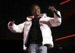 FILE - Roddy Ricch performs at the 7th annual BET Experience in Los Angeles on June 21, 2019. Ricch, Taylor Swift and Dua Lipa each earned six Grammy nominations on Tuesday, Nov. 24, 2020.  (Photo by Mark Von Holden/Invision/AP, File)