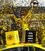 Joey Logano celebrates after winning a NASCAR Cup Series auto race at Las Vegas Motor Speedway on Sunday, Feb. 23, 2020. (AP Photo/Chase Stevens)