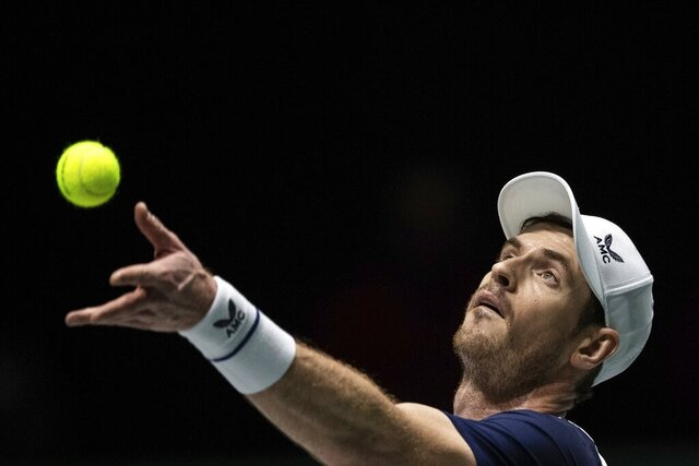 Great Britain's Andy Murray serves during the Davis Cup tennis match against Netherlands' Tallon Griekspoor in Madrid, Spain, Wednesday, Nov. 20, 2019. (AP Photo/Bernat Armangue)