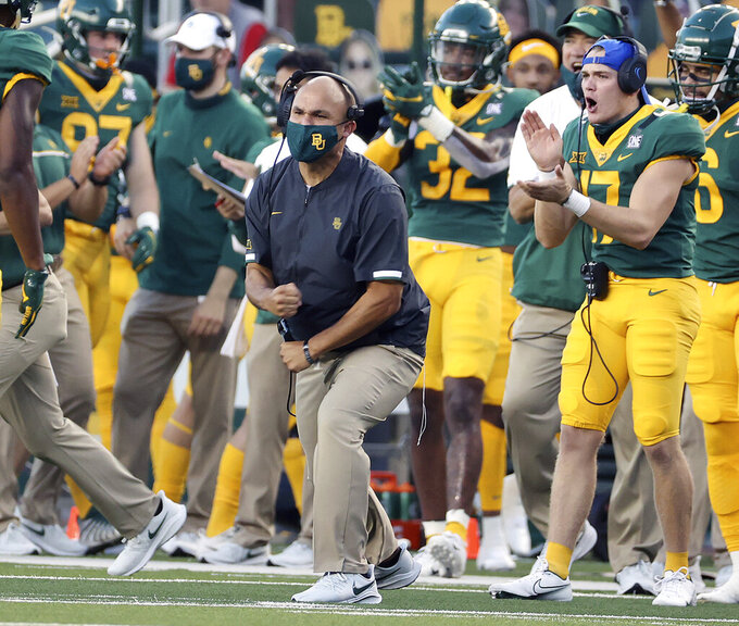 Baylor head coach Dave Aranda reacts as the defense stopped Kansas on fourth down in the first half of an NCAA college football game in Waco, Texas, Saturday, Sept. 26, 2020. (Jerry Larson/Waco Tribune-Herald via AP)