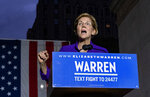 Democratic presidential candidate U.S. Sen. Elizabeth Warren addresses supporters at a rally Monday, Sept. 16, 2019, in New York. (AP Photo/Craig Ruttle)