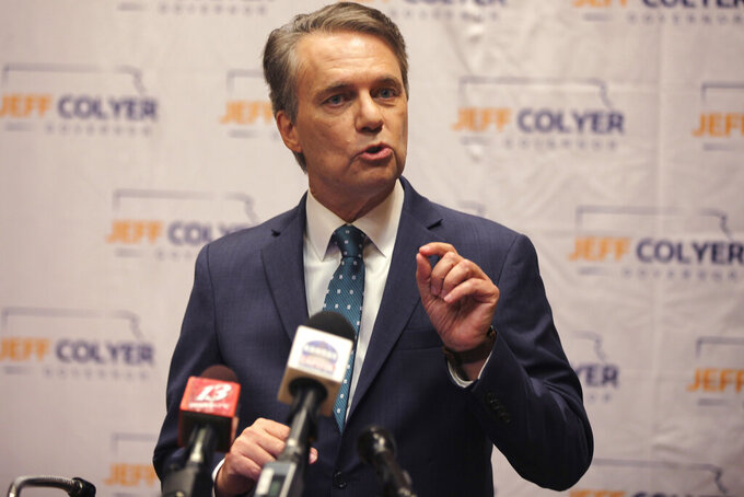 FILE - In this April 19, 2021 file photo, former Kansas Gov. Jeff Colyer formally launches his campaign for governor in 2022 in Topeka, Kan. A county election office released his and his wife's Social Security numbers to a political research firm by mistake this spring, and Colyer says the county's response still is inadequate. (AP Photo/John Hanna File)
