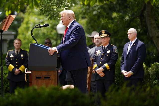 President Donald Trump speaks during an event on police reform, in the Rose Garden of the White House, Tuesday, June 16, 2020, in Washington. (AP Photo/Evan Vucci)