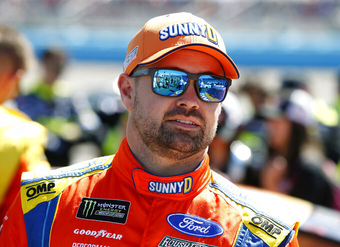 Driver Ricky Stenhouse Jr. prior to the start of the NASCAR Cup Series auto race at ISM Raceway, Sunday, March 10, 2019, in Avondale, Ariz. (AP Photo/Ralph Freso)