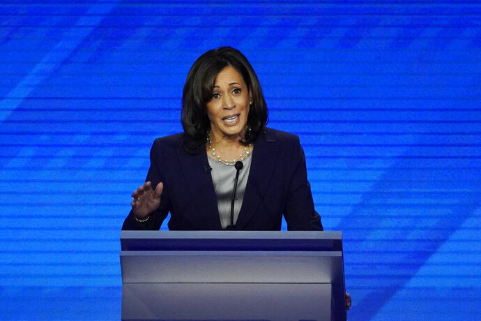 Democratic presidential candidate Sen. Kamala Harris, D-Calif. speaks Thursday, Sept. 12, 2019, during a Democratic presidential primary debate hosted by ABC at Texas Southern University in Houston. (AP Photo/David J. Phillip)