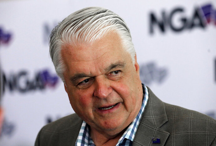 FILE - This July 24, 2019 file photo shows Nevada Gov. Steve Sisolak speaks during a news conference at the summer meeting of the National Governors Association in Salt Lake City. Sisolak is expressing outrage and vowing to tighten marijuana licensing oversight after reports that a foreign national contributed to two top state political candidates last year in a bid to skirt rules to open a legal cannabis store. Sisolak declared Friday, Oct. 11, 2019 there's been
