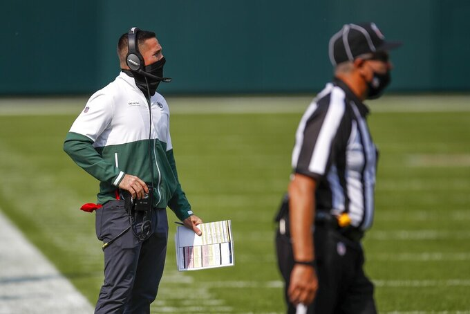 Green Bay Packers head coach Matt LaFleur watches during the second half of an NFL football game against the Detroit Lions Sunday, Sept. 20, 2020, in Green Bay, Wis. (AP Photo/Matt Ludtke)