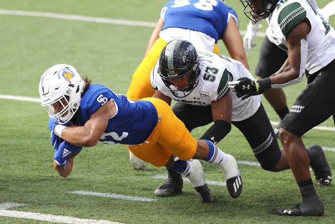 San Jose State running back Kairee Robinson (32) dives into the end zone for a touchdown against Hawaii during the second half of an NCAA college football game Saturday, Dec. 5, 2020, in Honolulu. (AP Photo/Marco Garcia)