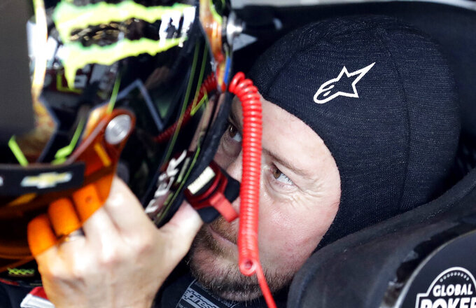 Kurt Busch gets ready for a practice for the NASCAR Sprint Cup Series auto race at Chicagoland Speedway in Joliet, Ill., Saturday, June 29, 2018. (AP Photo/Nam Y. Huh)