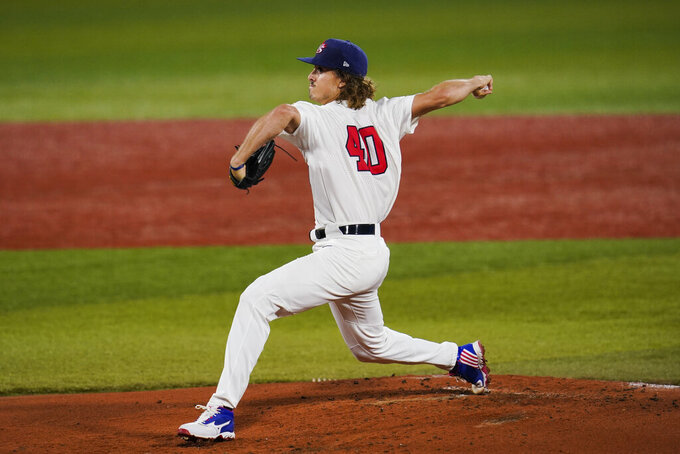 United States' Joe Ryan pitches during the the second inning of a semi-final baseball game against South Korea at the 2020 Summer Olympics, Thursday, Aug. 5, 2021, in Yokohama, Japan. (AP Photo/Sue Ogrocki)