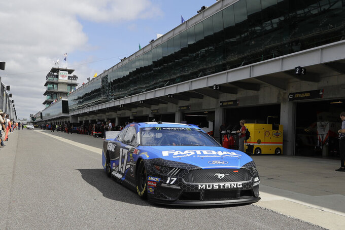 Monster Energy NASCAR Cup Series driver Ricky Stenhouse Jr. pull out of the garage during practice for the NASCAR Brickyard 400 auto race at the Indianapolis Motor Speedway, Saturday, Sept. 7, 2019 in Indianapolis. (AP Photo/Darron Cummings)0