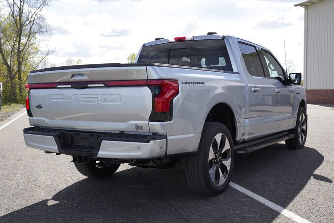 A pre-production Ford F-150 Lightning is shown in Bruce Township, Mich., May 12, 2021. The electric truck is aimed at the heart of the American auto market, a deliberate effort by Ford to move electric vehicles from specialized niche products to the mainstream. (AP Photo/Paul Sancya)