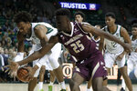 Baylor forward Freddie Gillespie, left, grabs a loose ball next to Texas State forward Alonzo Sule (25) during the first half of an NCAA college basketball game in Waco, Texas, Friday, Nov. 15, 2019. (AP Photo/Tony Gutierrez)
