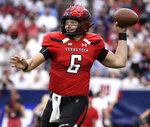 Texas Tech quarterback McLane Carter throws a pass during the first half of a college football game against Mississippi, Saturday, Sept. 1, 2018, in Houston. (AP Photo/Eric Christian Smith)