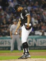 Chicago White Sox starting pitcher Reynaldo Lopez looks down after New York Yankees' Gleyber Torres hit a two-run home run during the fourth inning of a baseball game in Chicago, Saturday, June 15, 2019. (AP Photo/Nam Y. Huh)