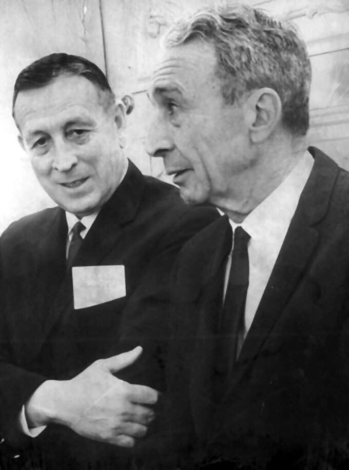 "John Wooden, left, is shown with Butler basketball coach Tony Hinkle at the Claypool Hotel in Indianapolis, in this Jan. 22, 1966, photo. Tony Hinkle turned Butler's pass-and-cut offense of the 1920s into a coaching textbook for generations. Bob Knight and Gene Keady added their own revisions following Hinkle's forced retirement in 1970. Wooden was born in tiny Hall, Indiana, before attending  Martinsville High School. Eventually, he turned down the chance to play for Hinkle so he could attend Purdue under another big coaching name, Ward ""Piggy"" Lambert.(Ed Lacey/The Indianapolis Star via AP)"