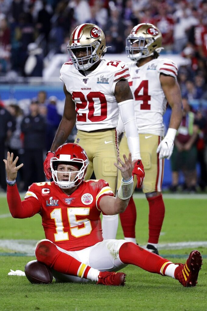 Kansas City Chiefs quarterback Patrick Mahomes (15) reacts during the second half of the NFL Super Bowl 54 football game against the San Francisco 49ers, Sunday, Feb. 2, 2020, in Miami Gardens, Fla. (AP Photo/Patrick Semansky)