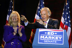 Sen. Edward Markey. D-Mass., celebrates with wife Susan, left, in Malden, Mass., after defeating Rep. Joe Kennedy III, Tuesday, Sept. 1, 2020, in the Massachusetts Democratic Senate primary. (AP Photo/Michael Dwyer)