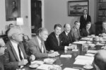 FILE - In this April 12, 1983 file photo, President Ronald Reagan chairs a session of his Commission on Strategic Forces, in the White House Cabinet Room in Washington. From left are: James Schlesinger, former Secretary of State Alexander M. Haig Jr., President Reagan and Brent Scowcroft, National Security adviser to President Ford and chairman of the panel. A longtime adviser to Presidents Gerald Ford and George H.W. Bush has died. Brent Scowcroft was 95. A spokesperson for the late President Bush says Scowcroft died Thursday of natural causes at his home in Falls Church, Virginia. (AP Photo/Charles Tasnadi)