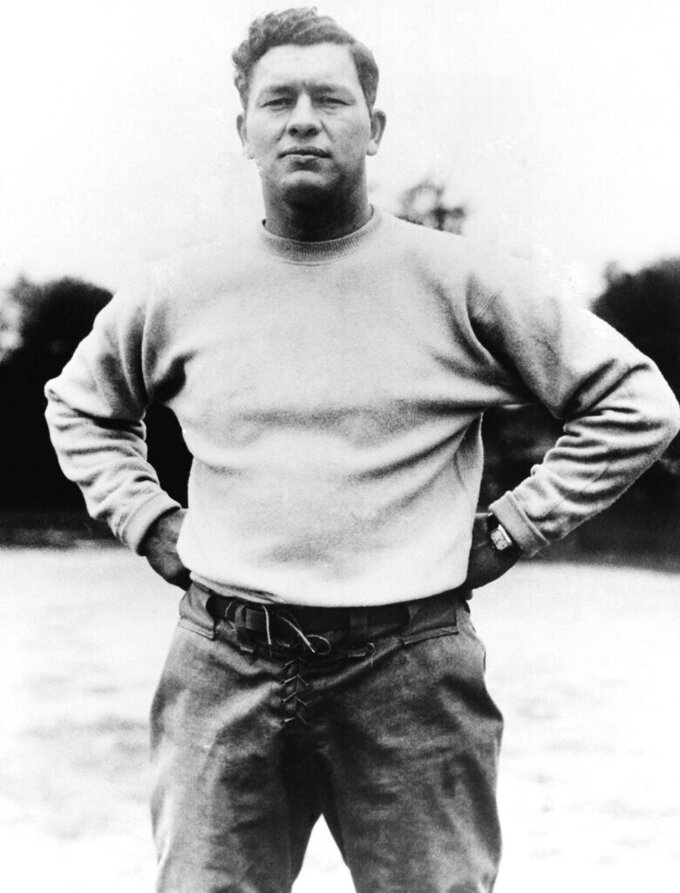 """FILE - This is a 1937 file photo showing Green Bay Packers football coach Earl """"Curley"""" Lambeau. Curly Lambeau won four NFL titles in the decade as the Packers were the league's powerhouse. (AP Photo/File)"""