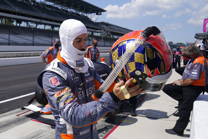 James Hinchcliffe, of Canada, prepares to drive during a practice session for the Indianapolis 500 auto race at Indianapolis Motor Speedway, Friday, Aug. 14, 2020, in Indianapolis. (AP Photo/Darron Cummings)