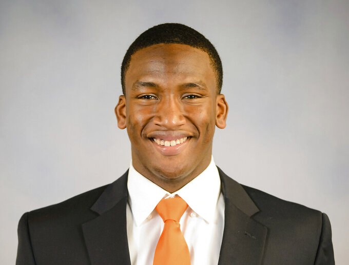 This 2015 photo provided by Clemson Athletics shows Clelin Ferrell. Ferrell is a possible pick in the 2019 NFL Draft.(Craig Mahaffey/Clemson Athletics via AP)