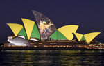 The Sydney Opera House is illuminated in support of Australia and New Zealand's joint bid to host the FIFA Women's World Cup 2023, in Sydney, Thursday, June 25, 2020. Australia and New Zealand will co-host the Women's World Cup in 2023, with the following edition possibly set to take place just two years later. (Bianca De Marchi/AAP Image via AP)