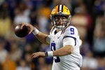 FILE - In this Oct. 12, 2019, file photo, LSU quarterback Joe Burrow (9) passes in the second half of an NCAA college football game against Florida in Baton Rouge, La. A high-stakes tilt between LSU and Alabama could prove as pivotal in Heisman Trophy voting as it is in providing the winner an inside track to the College Football Playoff. (AP Photo/Gerald Herbert, File)