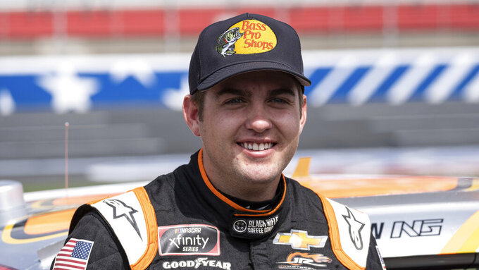 NASCAR Xfinity Series driver Noah Gragson before the Alsco Uniforms 300 race at Charlotte Motor Speedway on May 29, 2021 in Charlotte, NC. (AP Photo/Ben Gray)