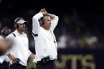Jacksonville Jaguars head coach Urban Meyer reacts to a turnover in the second half of an NFL preseason football game against the New Orleans Saints in New Orleans, Monday, Aug. 23, 2021. (AP Photo/Brett Duke)