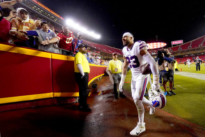 Buffalo Bills safety Micah Hyde (23) runs to the locker room after an NFL football game against the Kansas City Chiefs Sunday, Oct. 10, 2021, in Kansas City, Mo. The Bills won 38-20. (AP Photo/Charlie Riedel)