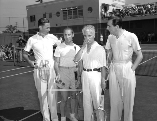 Groucho Marx with Charlie Chaplin Fred Perry    Tennis Match