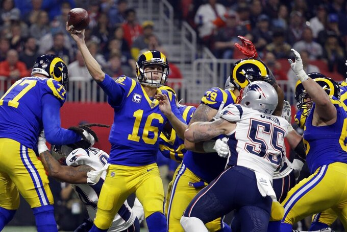 Los Angeles Rams' Jared Goff (16) throws a pass during the second half of the NFL Super Bowl 53 football game against the New England Patriots, Sunday, Feb. 3, 2019, in Atlanta. (AP Photo/Mark Humphrey)