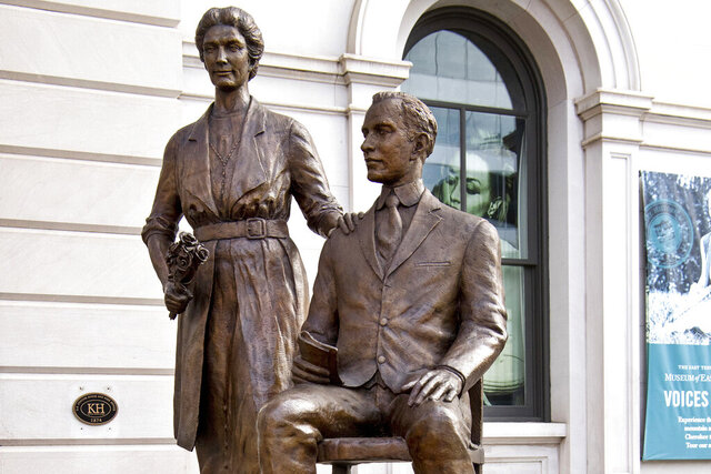 A statue of Febb Ensminger Burn and her son, Harry Burn, stands in downtown Knoxville, Tenn., on Feb. 3, 2020. Women in the United States were guaranteed the right to vote with ratification of the 19th Amendment — secured by a 24-year-old Tennessee legislator's decisive vote, cast at the bidding of his mother. (Brianna Paciorka/Knoxville News Sentinel via AP)