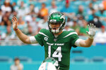 New York Jets quarterback Sam Darnold (14) gestures during the first half of an NFL football game against the Miami Dolphins, Sunday, Nov. 3, 2019, in Miami Gardens, Fla. (AP Photo/Wilfredo Lee)