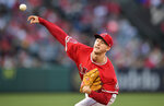 Los Angeles Angels starting pitcher Griffin Canning throws to the plate during the first inning of a baseball game against the Texas Rangers, Friday, May 24, 2019, in Anaheim, Calif. (AP Photo/Mark J. Terrill)