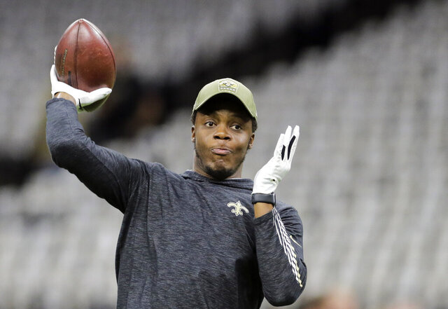 New Orleans Saints quarterback Teddy Bridgewater (5) throws before the New Orleans Saints host the Atlanta Falcons at the Mercedes-Benz Superdome in New Orleans, La. Sunday, Nov. 10, 2019. The chants of