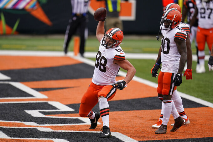 Cleveland Browns' Harrison Bryant (88) celebrates a touchdown during the second half of an NFL football game against the Cincinnati Bengals, Sunday, Oct. 25, 2020, in Cincinnati. (AP Photo/Michael Conroy)