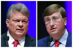 FILE - This combination image of Oct. 10, 2019, file photos shows Democratic State Attorney General Jim Hood, left, and Republican Lt. Gov. Tate Reeves during the first televised gubernatorial debate at the University of Southern Mississippi in Hattiesburg, Miss. The Democratic nominee for governor, Hood, is in his fourth as attorney general. The Republican nominee for governor, Reeves, is in his second term as lieutenant governor. They are on the ballot Tuesday, Nov. 5, along with two lesser-known candidates. The winner will succeed Republican Gov. Phil Bryant, who is limited by state law to two terms. (AP Photo/Rogelio V. Solis, File)