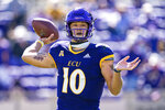 East Carolina quarterback Mason Garcia (10) throws a pass against Navy during an NCAA football game on Saturday, Oct. 17, 2020, in Greenville, N.C. (AP Photo/Jacob Kupferman)