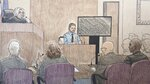 This courtroom sketch depicts Minneapolis police officer Matthew Harrity, center, as he testifies Thursday, April 18, 2019, in Minneapolis, Minn., during the murder trial of former Minneapolis police officer Mohamed Noor, his former partner, who fatally shot an unarmed Australian woman, Justine Ruszczyk Damond, in July, 2017, after she called 911 to report a possible sexual assault behind her home. Harrity testified Thursday that he heard a thump on the officers' squad car right before the shooting and feared a possible ambush. Harrity's testimony echoed Noor's claim that he was startled by a noise and feared ambush when he fired a single shot killing Damond. Listening to Harrity's testimony are from top left, Hennepin County District Judge Kathryn Quaintance, prosecutors Patrick Lofton, and Amy Sweasy, defense attorney Thomas Plunkett and Noor. (Cedric Hohnstadt via AP)